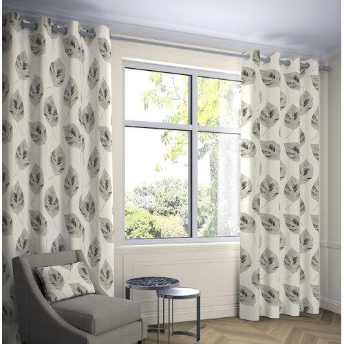 Bolen Eyelet Room Darkening Thermal Curtains Ebern Designs Colour: Soft Grey, Panel Size: Width 228 x Drop 137 cm