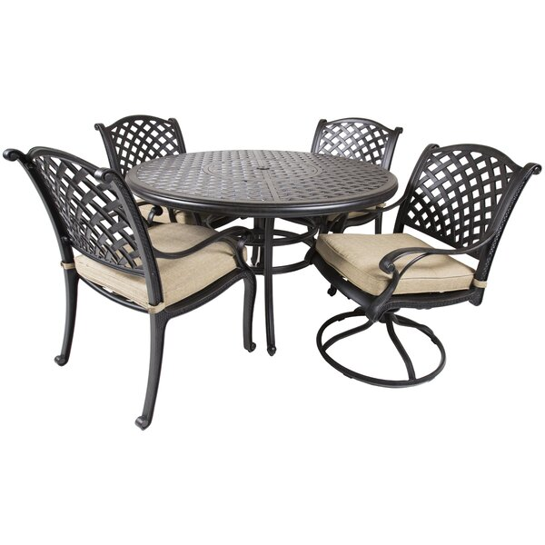 Gadson 5 Piece Dining Set with Cushions by Red Barrel Studio