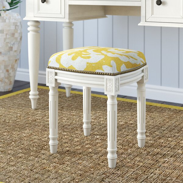 Alameda Jacobean Linen Upholstered Vanity Stool by Rosecliff Heights