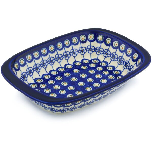Flowering Peacock Rectangular Non-Stick Polish Pottery Baker by Polmedia