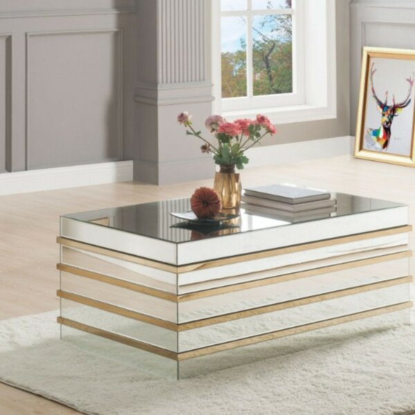 Rillie Modern Rectangular Metal and Mirror Coffee Table by Everly Quinn