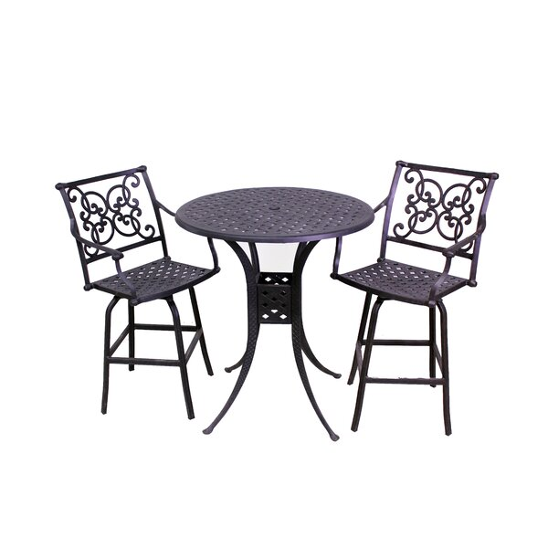 Elzada 3 Piece Bar Height Dining Set by Fleur De Lis Living