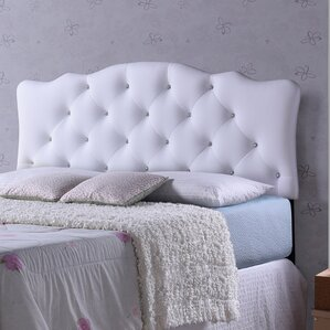 Rita White Scalloped Full Upholstered Panel Headboard by Wholesale Interiors