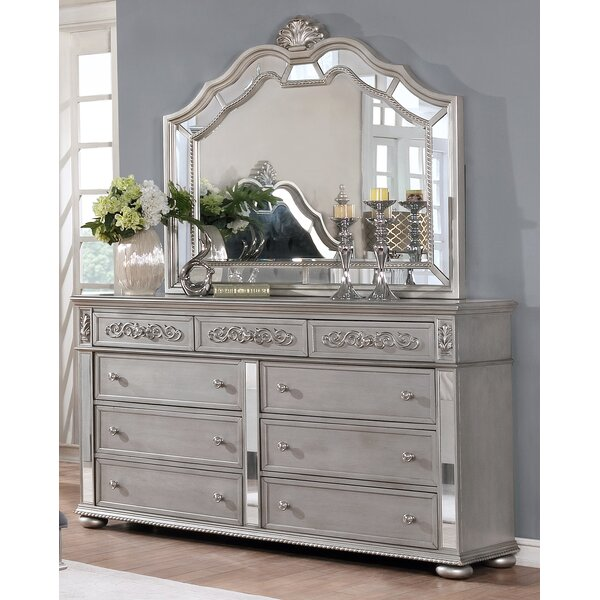Nicolasa 9 Drawer Dresser with Mirror by Rosdorf Park