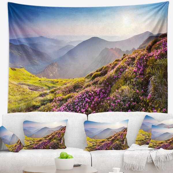 Landscape Magic Pink Flowers on Mountains Tapestry by East Urban Home