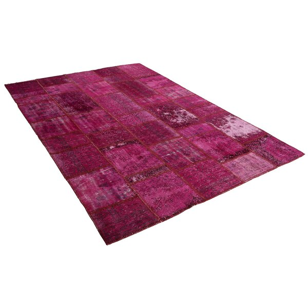 Kayla Patchwork Hand-Knotted Wool Pink Area Rug by Bloomsbury Market