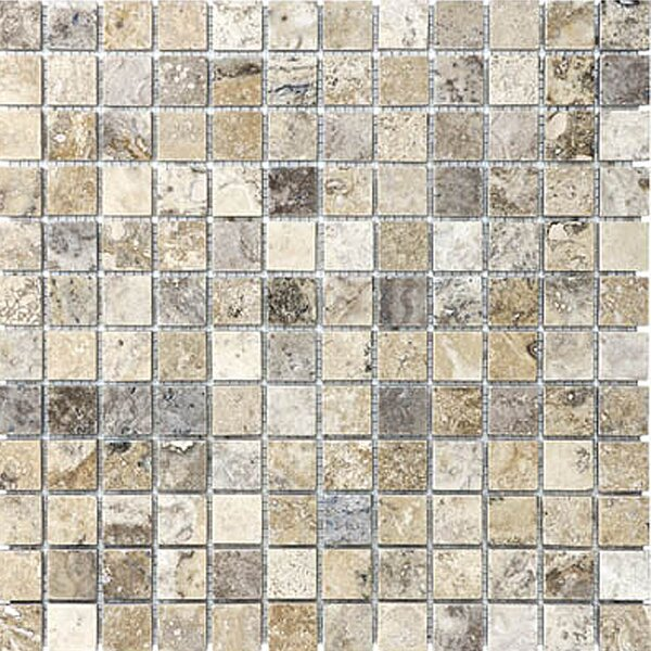 1 x 1 Travertine Mosaic Tile in Silver by Epoch Architectural Surfaces