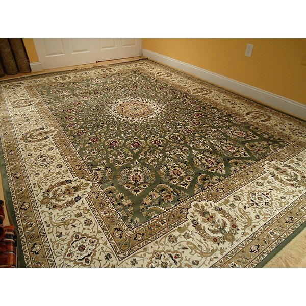 Shanelle Living Room Hand-Knotted Silk Green/Beige Area Rug by Astoria Grand