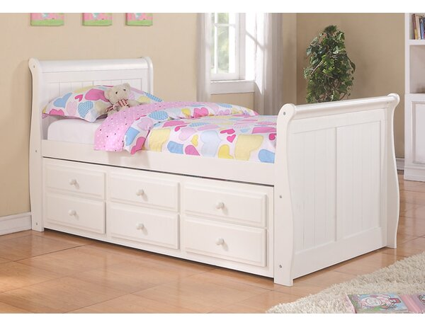 Jacquline Sleigh Bed with Trundle and Drawers by Harriet Bee