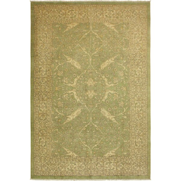One-of-a-Kind Dorn Hand-Knotted Persian Light Green/Brown 9'9 x 13'5 Wool Area Rug