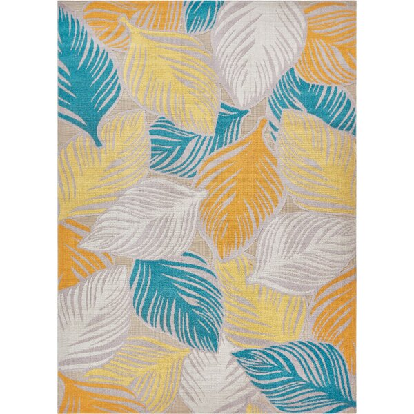 Newagen Amelia Tropical Leaves Blue/Yellow Area Rug by Bay Isle Home