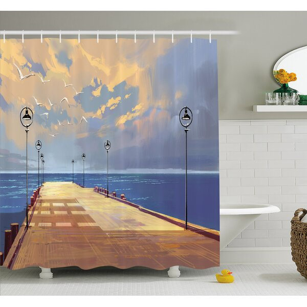 Wooden Bridge Pier to the Sea Harbor Bay Coast Cloudy Day with Gull Shower Curtain Set by East Urban Home