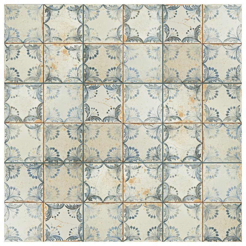 "Alberta 13"" x 13"" Ceramic Field Tile in Blue/Beige"