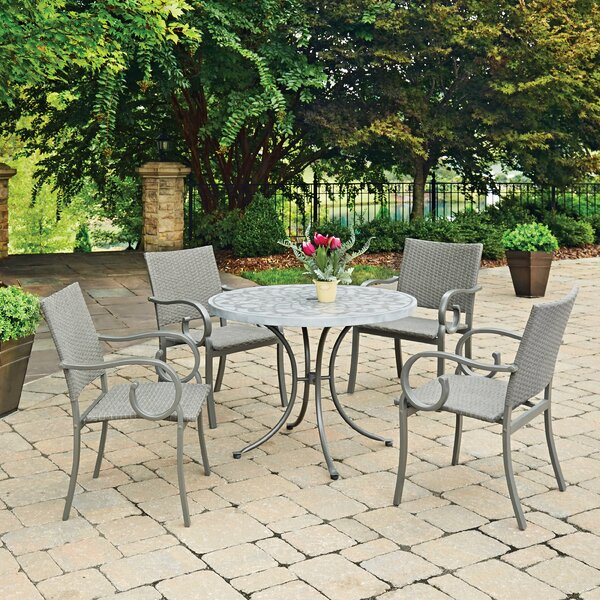 Saladino Concrete Stenciled 5 Piece Dining Set by Fleur De Lis Living