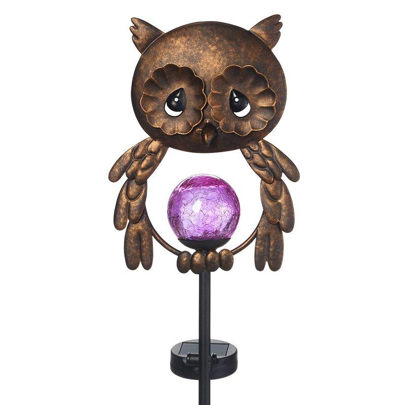 Lighted Owl Led Solar Gl Globe Decorative Scrollwork Metal Yard Decor Garden Stake
