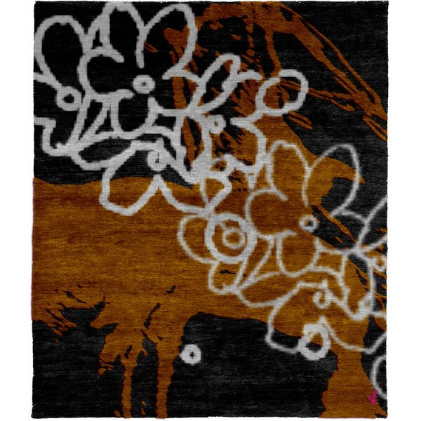 One-of-a-Kind Ashburnham Hand-Knotted Traditional Style Black 6' x 9' Wool Area Rug
