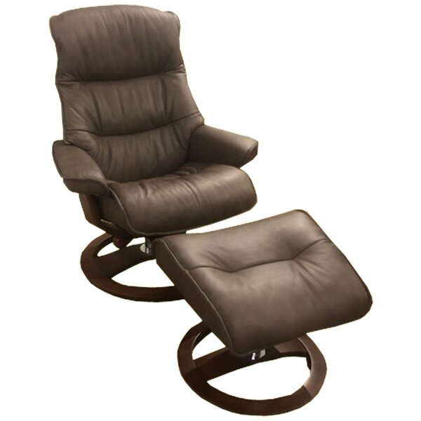 Big Sur Ergo Leather Manual Swivel Recliner with Ottoman by Omnia Leather Omnia Leather