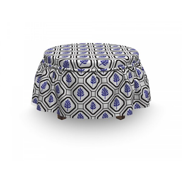 Rhombus Leaves Folkloric Ottoman Slipcover (Set Of 2) By East Urban Home