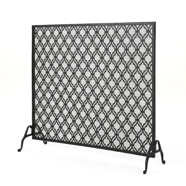 Tennison Single Panel Iron Fireplace Screen by Fleur De Lis Living