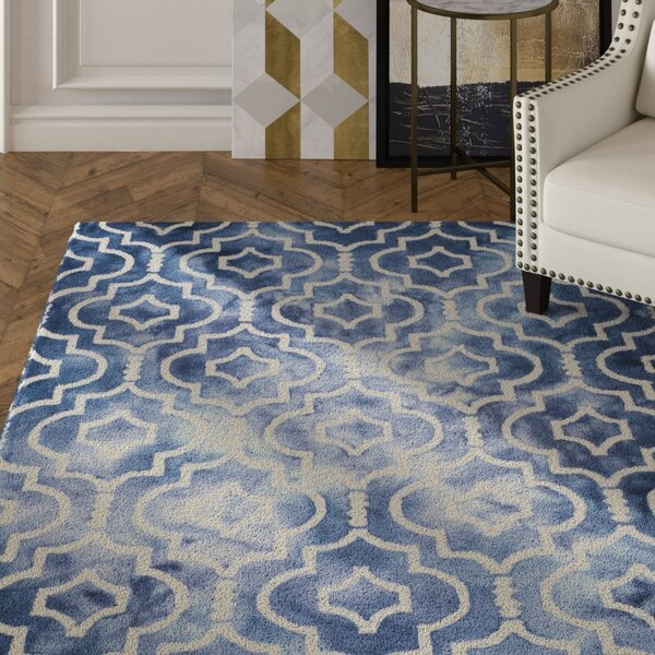 Berman Hand-Tufted Navy/Ivory Area Rug by House of Hampton