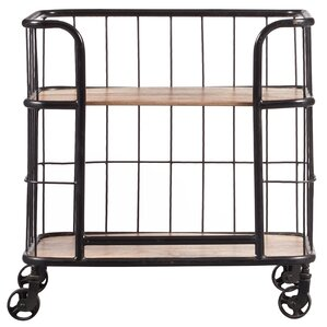 Lorient Industrial Wood and Metal Trolley Bar Cart by Laurel Foundry Modern Farmhouse