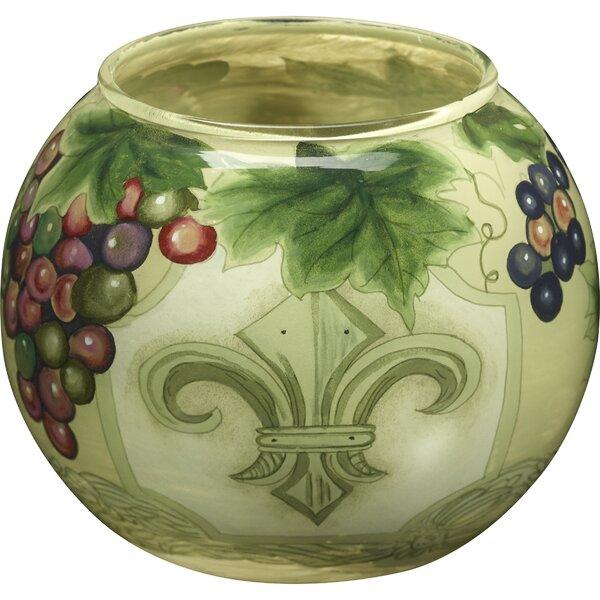 Fleur De Lis Vines Hand Painted Glass Votive and Tea Light by Precious Moments