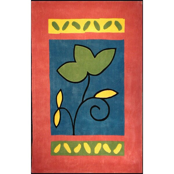 Bright Rose/Blue A Single Flower Area Rug by American Home Rug Co.