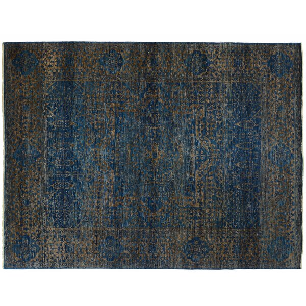 One-of-a-Kind Hand-Knotted Blue 8' x 10' Wool Area Rug