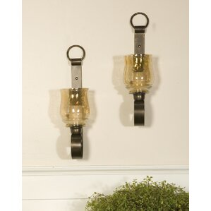 Great Reitman Iron And Glass Small Wall Sconces (Set Of 2) (Set Of 2