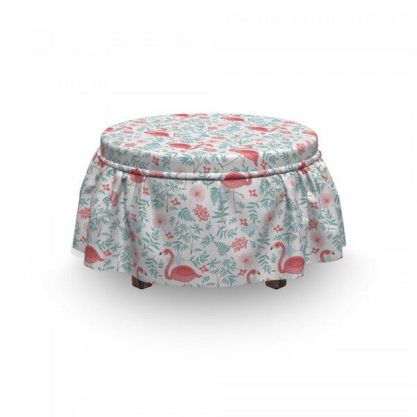 Flamingo Botanical Flourish 2 Piece Box Cushion Ottoman Slipcover Set By East Urban Home