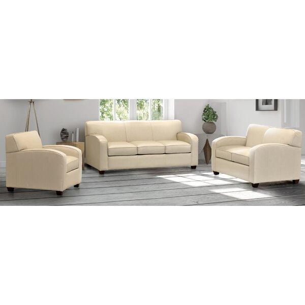 Made In Usa Bungaroo Cream Top Grain Leather Sofa, Loveseat And Chair by Ebern Designs Ebern Designs