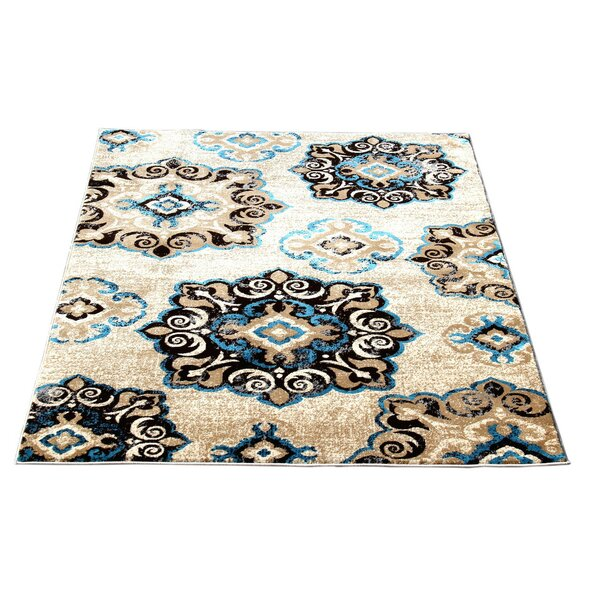 Doreen Decorative Modern Contemporary Southwestern Beige/Blue/Black Area Rug by Winston Porter