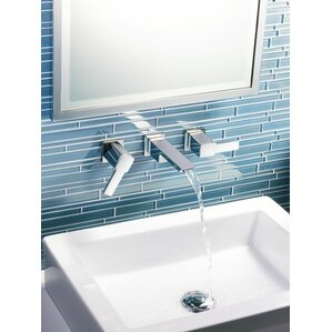 90 Degree Double Handle Wall Mounted Bathroom Faucet