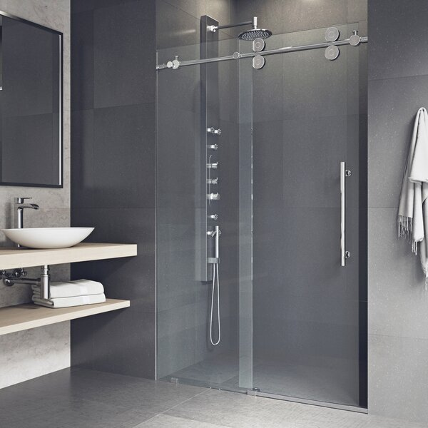 Elan 60 x 74 Single Sliding Semi-Frameless Shower