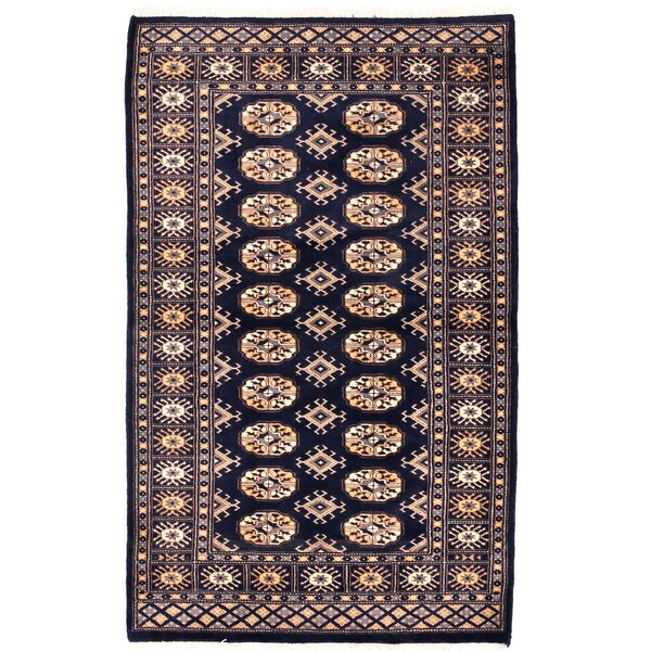 Tribal Bokhara Hand-Knotted Navy Area Rug by Herat Oriental