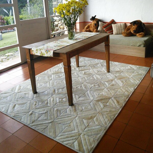 One-of-a-Kind Bellflower Patchwork Hand-Woven Cowhide Off White Area Rug by Foundry Select