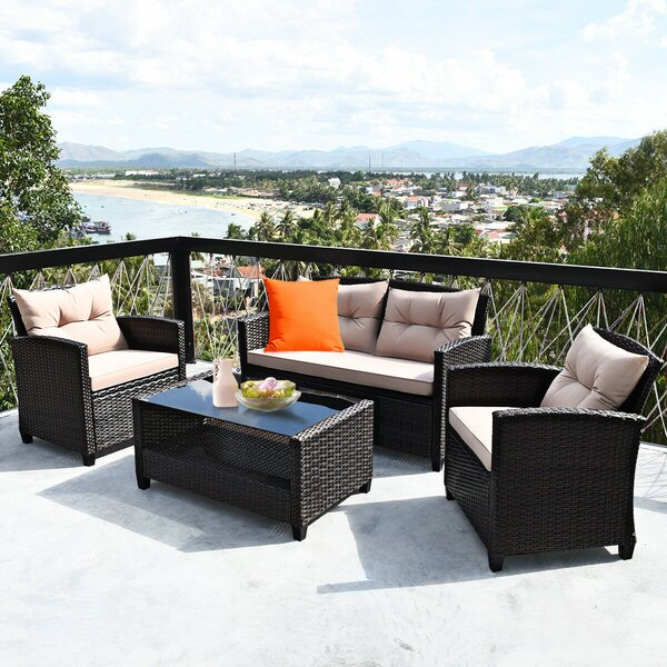 Slana 4 Piece Rattan Sofa Seating Group with Cushions by Ebern Designs