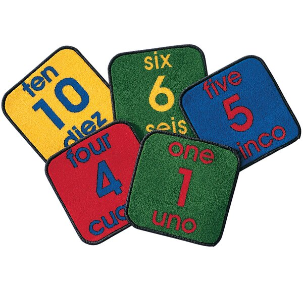 Carpet Kits Printed Bilingual Number Tile Area Rug by Carpets for Kids