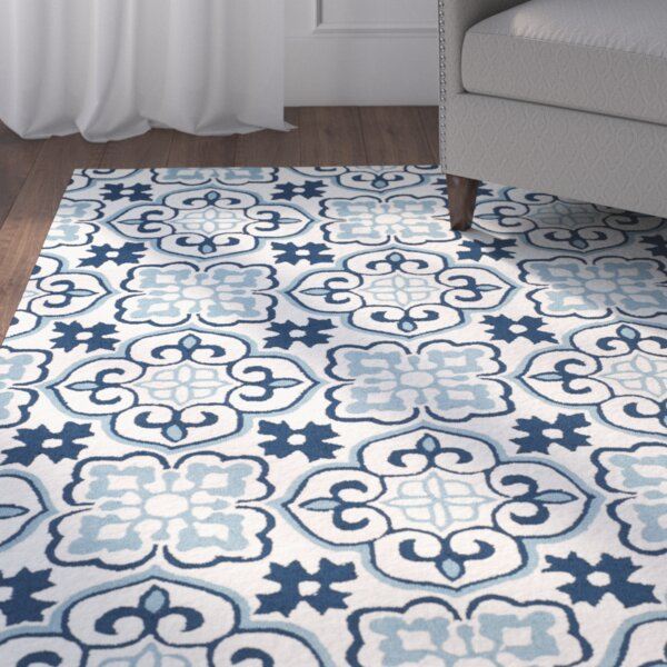 Back East Hand-Hooked Blue/Ivory Area Rug by Red Barrel Studio