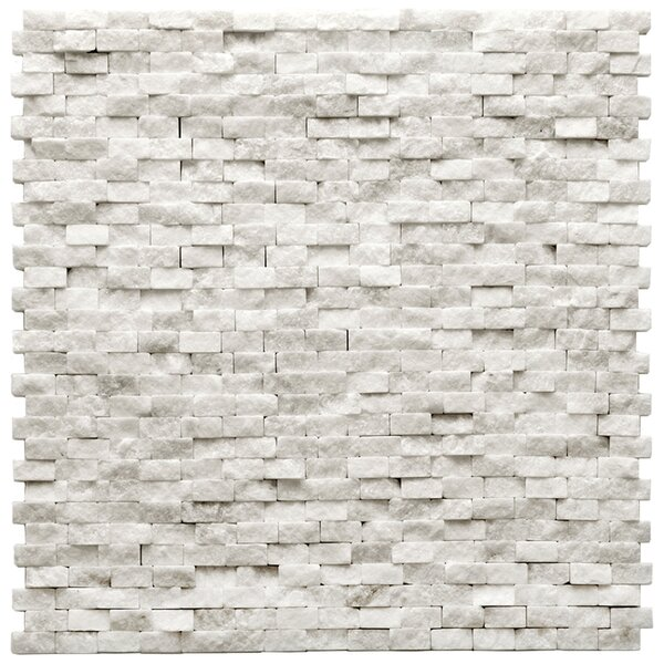 Modern 0.5 x 0.75 Splitface Tile in Beaux White by Solistone