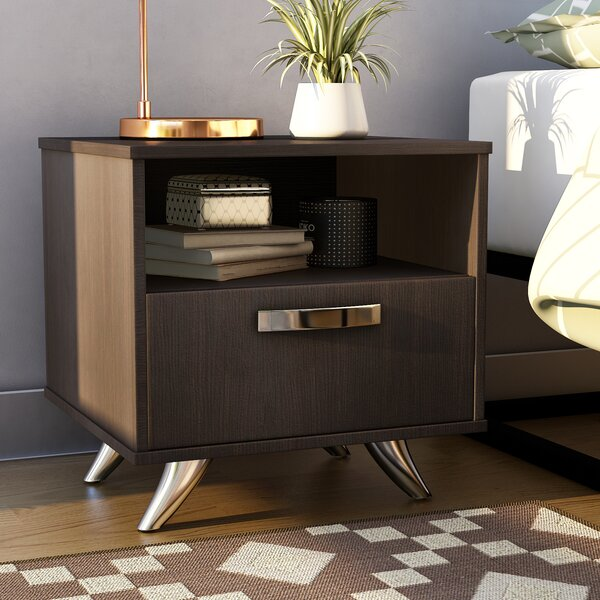 Mercier 1 Drawer Nightstand by Ebern Designs