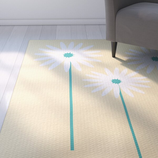 Omar Floral Print Soft Yellow Indoor/Outdoor Area Rug by August Grove