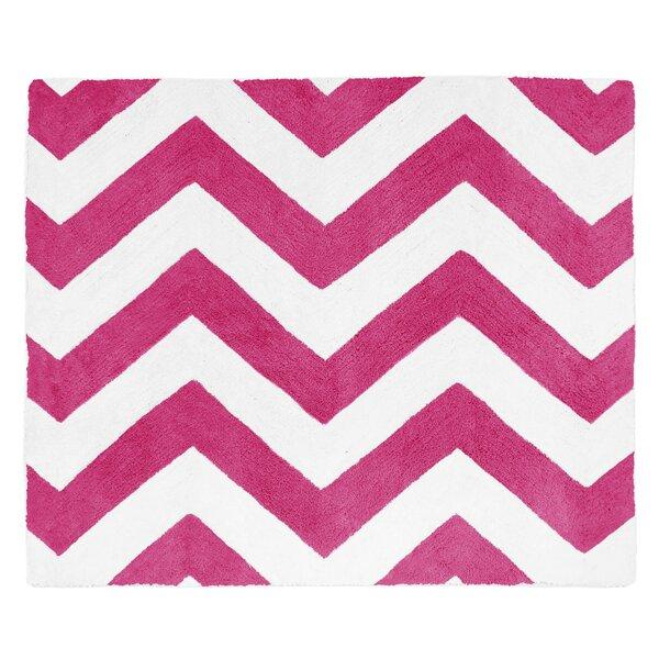 Chevron Hot Pink / White Area Rug by Sweet Jojo Designs