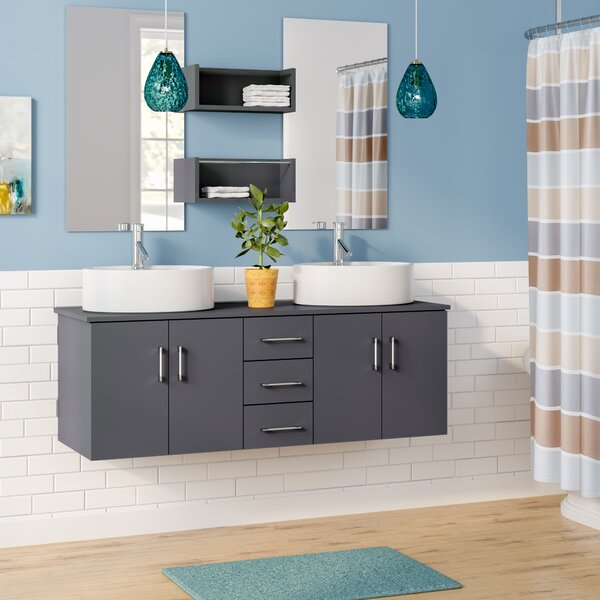 Camren 59 Double Bathroom Vanity Set with White Top and Mirror by Zipcode Design
