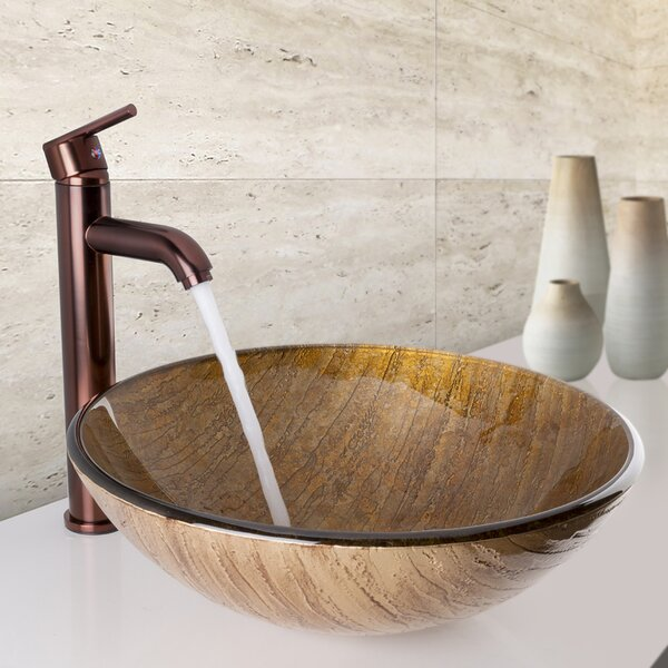 Glass Circular Vessel Bathroom Sink by VIGO