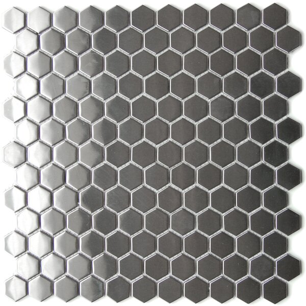 12 x 12.4 Stainless Steel Mosaic Tile in Silver by Eden Mosaic Tile