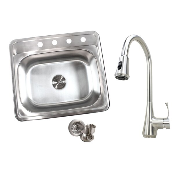 Topmount 18-Gauge 25 x 22 Drop-In Kitchen Sink with Faucet by eModern Decor