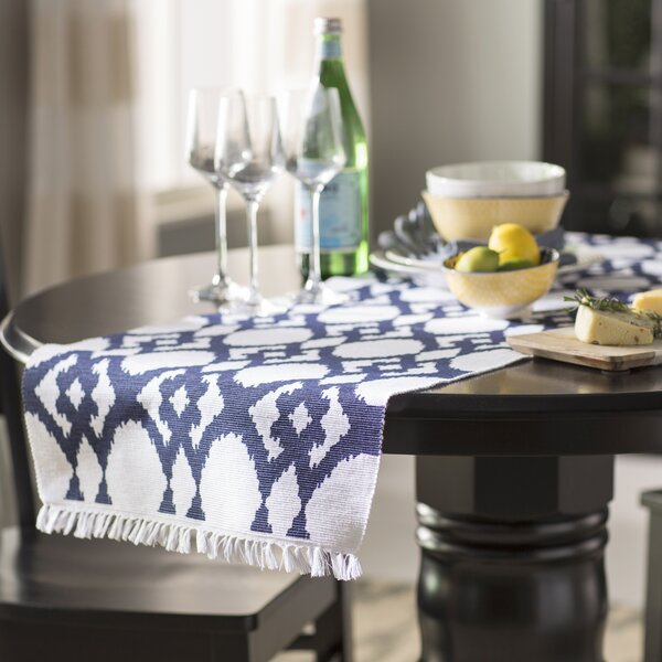 Cannon Ikat Design Ribbed Table Runner by Beachcrest Home