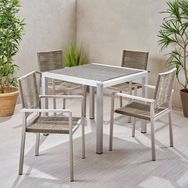 Aldrin Outdoor 5 Piece Dining Set by Wrought Studio