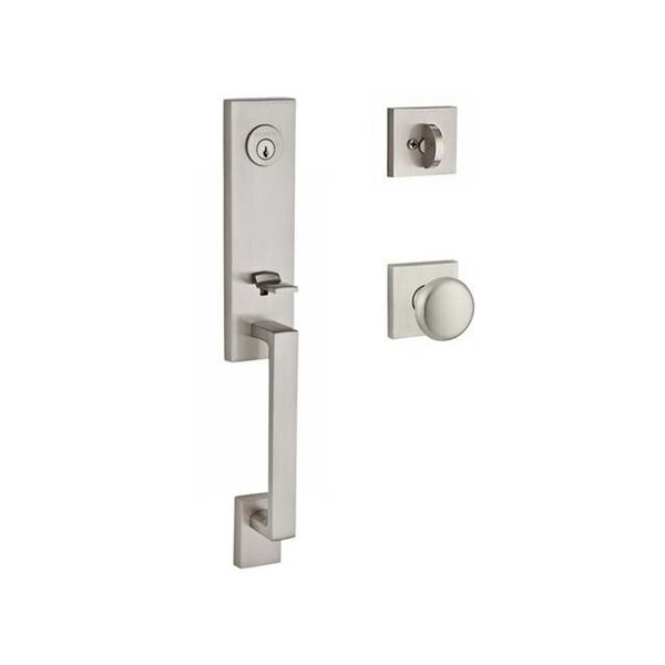 Seattle Single Cylinder Handleset with Round Door Knob and Contemporary Square Rose by Baldwin